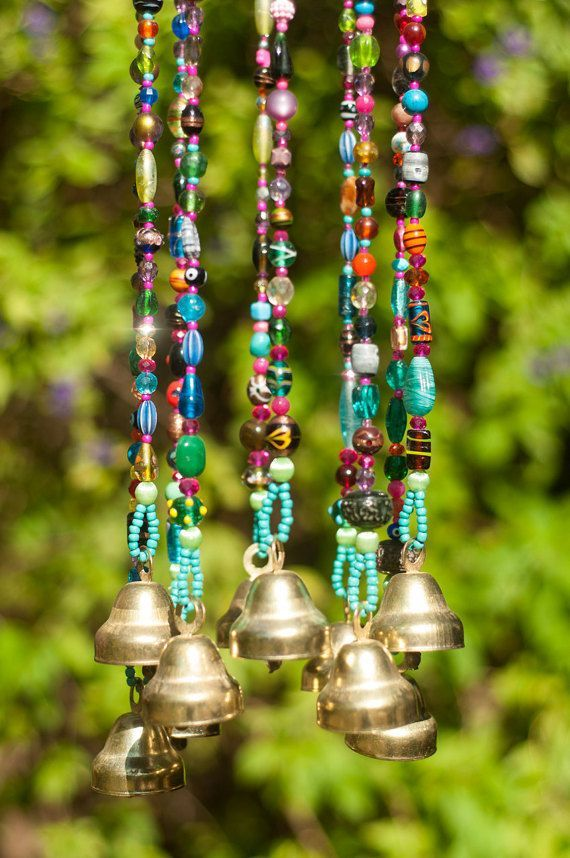Wind chime – beaded mobile with Brass bells- sun catcher – Bohemian décor- Hippie style décor-garden bells-outdoor hanging decor-suncatcher