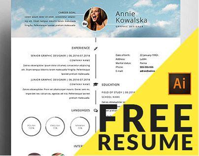 free minimalistic resumecv timeline illustrator - Illustrator Cv