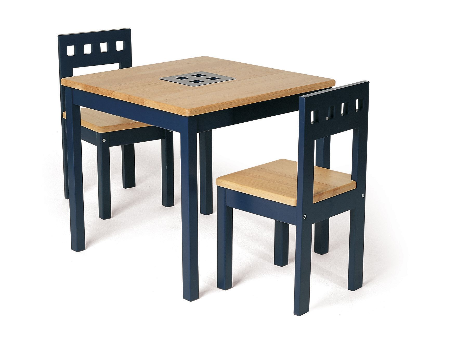 Wooden card table pintoy blue and two chair set