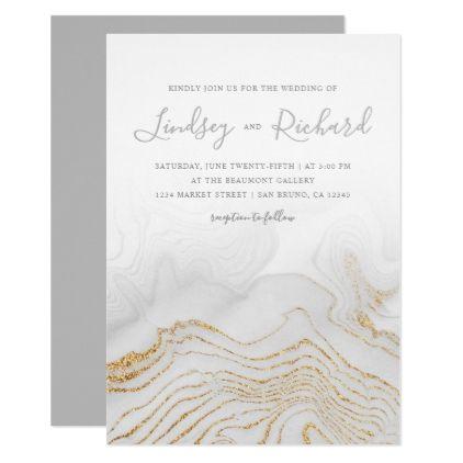 Gold Glitter Marble  Modern Script Wedding Invite  Wedding