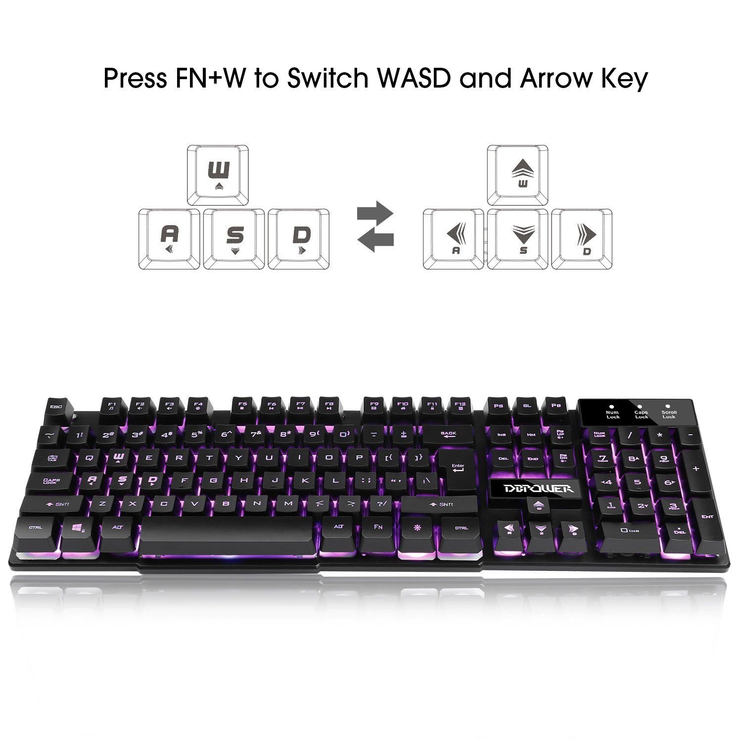 DBPOWER Three Colors Backlit LED Keyboard for Gaming Office