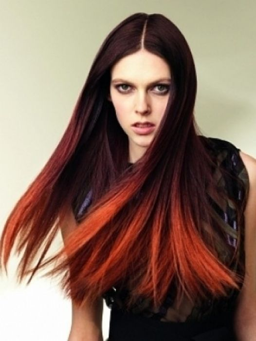 Dark brown to orange ombre hair color ... I WANT THIS!!!