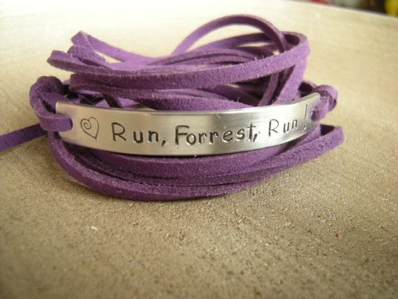 Runners bracelet Run Forrest stamped wrap by PawlowskiCreations, $19.70