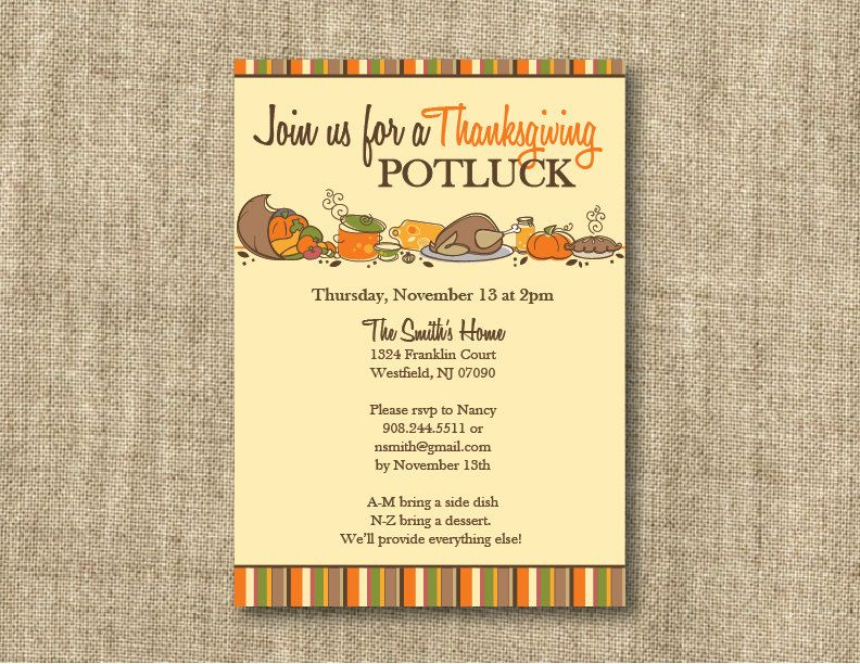Thanksgiving Invitations Wording With Bring A Dish  Sample