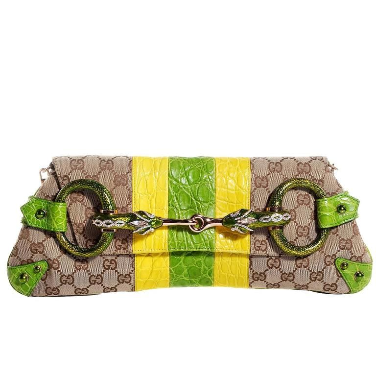Gucci Tom Ford Ss 2004 Striped Canvas Croc Jeweled Snake Xxl Clutch Bag