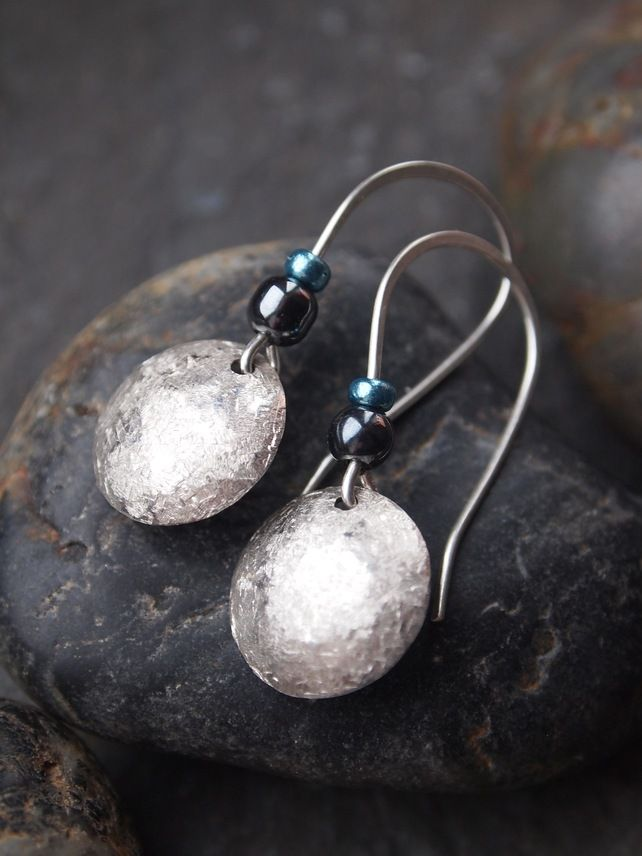 Sterling Silver Textured Disc Earrings with Hematite | Earrings, Silver, Jewelry making