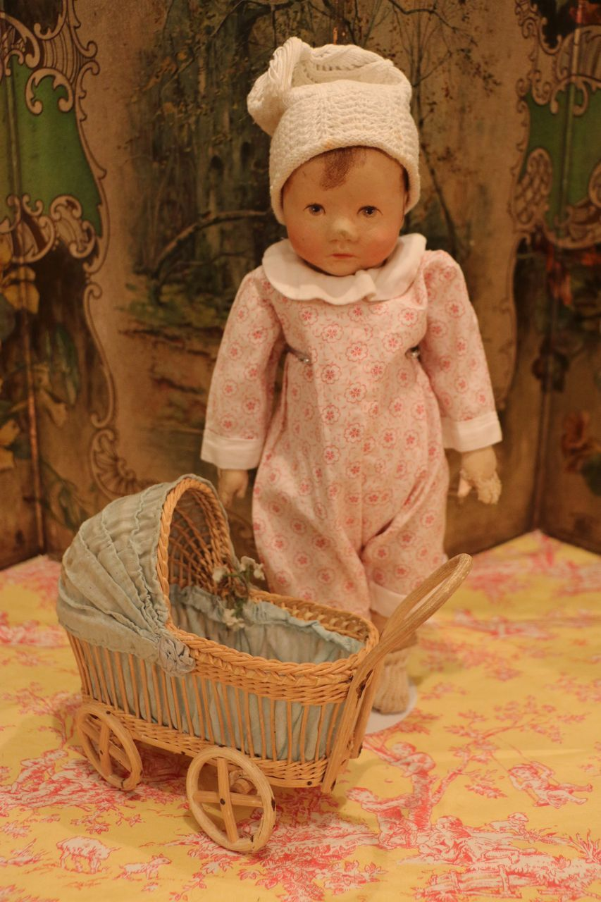 """( On hold for I.) German Cloth Character Doll """"Kleines Du Mein"""" by Kathe Kruse with carriage"""