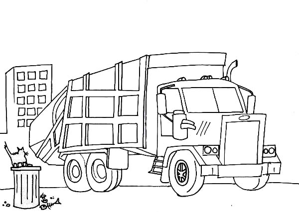 garbage truck cleaning a city garbage coloring page  kids