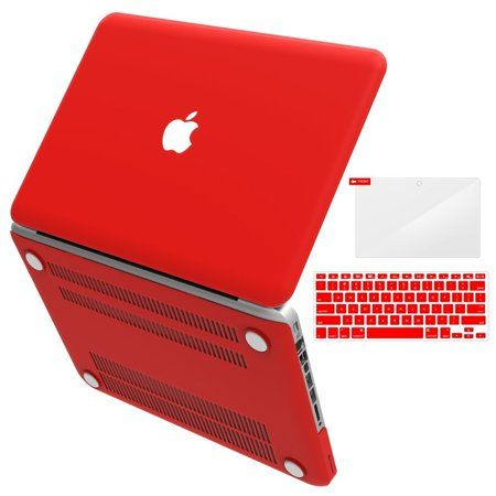 """iBenzer Basic Soft-Touch Series Plastic Hard Case & Keyboard Cover for Apple MacBook Pro 13-inch 13"""" with CD-ROM A1278 (Previous Generation), Red - Walmart.com"""