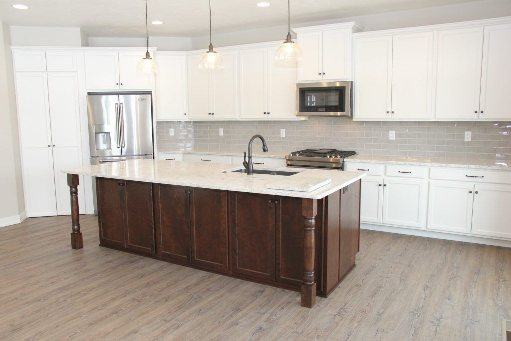 Light Gray Tile Kitchen Backsplash And Luxury Vinyl Plank Kitchen