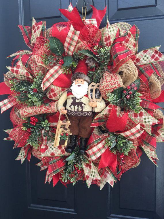 Santa Christmas burlap wreath santa Christmas by PinkLimeWreaths - christmas wreath decorations