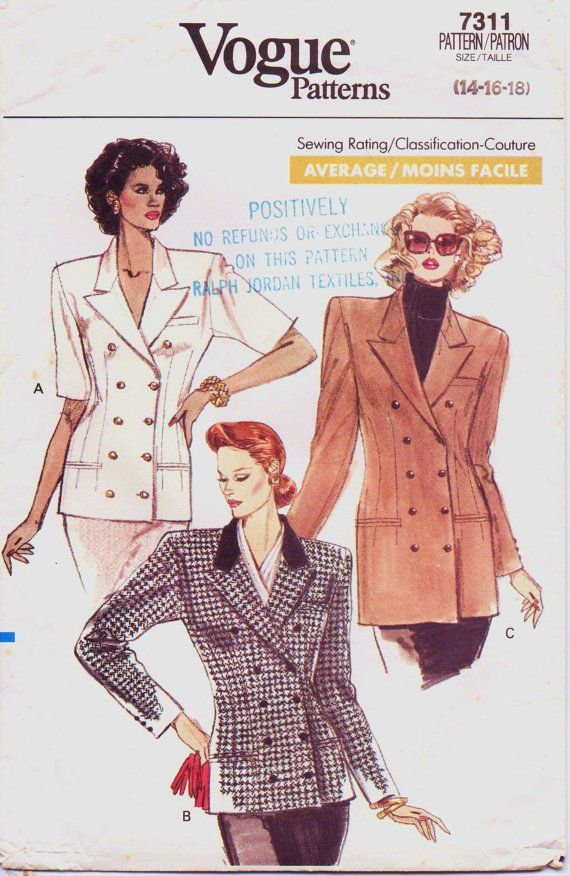 80s Womens Double Breasted Jacket in 2 Lengths Vogue Sewing Pattern ...