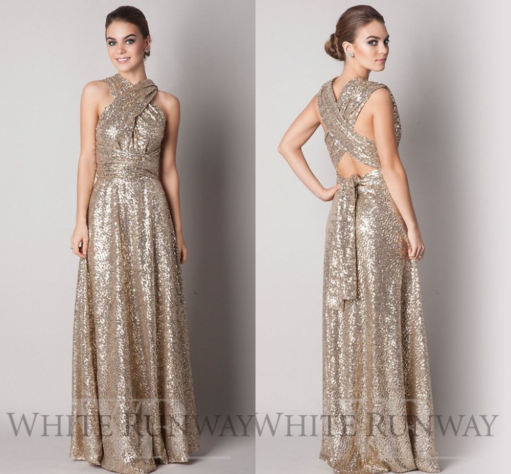 Open back 2015 a line halter floor length champagne gold squins open back 2015 a line halter floor length champagne gold squins sparkle long bridesmaid dresses under ombrellifo Choice Image