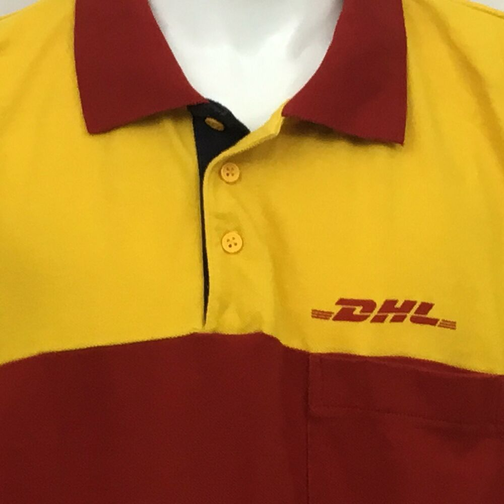 39ac2845 DHL Polo Rugby Collar Button Shirt Long Sleeve Check Measurements Red Yellow  #DHLExpress #Polo