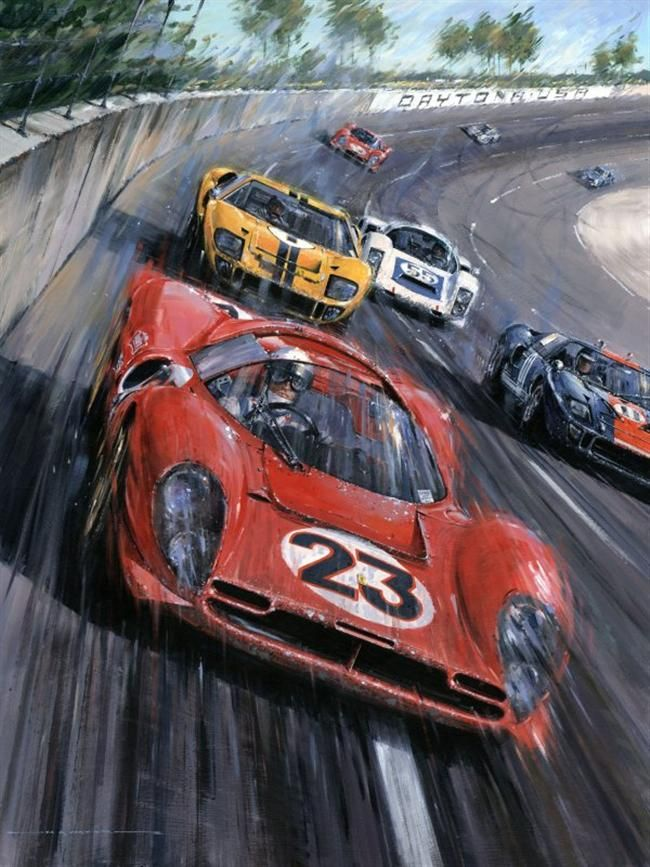 Ferrari Vs Ford Vs Porsche Em Daytona Art Cars Car Painting Auto Racing Art