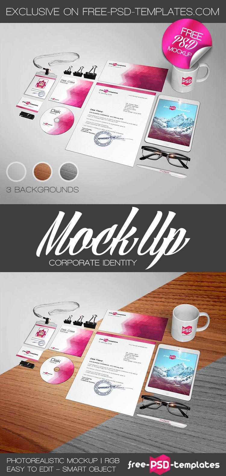 Free Corporate Identity Mockup Psd   Free PSD Templates   #free ...