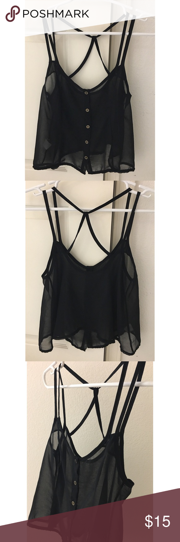 BRANDY MELVILLE Black Crop Top Strappy OS Small Crop top from Brandy Melville (brand tag missing, but purchased from a Brandy store and material tag shows Made in Italy as usual). I don't remember the size but it's likely OS or Small: armpit to armpit lying flat is around 15.25 inches, length down the middle (front side, from top hem next to the button to bottom hem, lying flat) is around 12 inches. . . OPEN TO REASONABLE OFFERS, cleaning out my closet and everything needs to go ASAP! I sell…