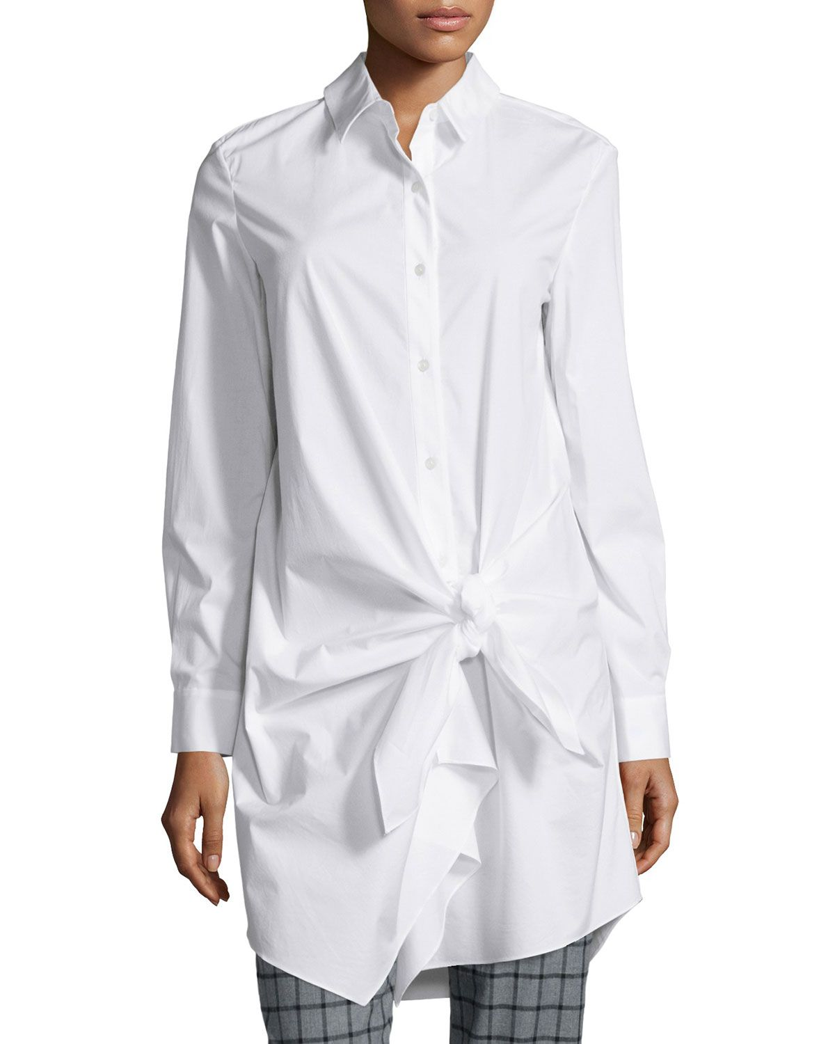 Long-Sleeve Side-Tie Shirtdress, White, Size: 4