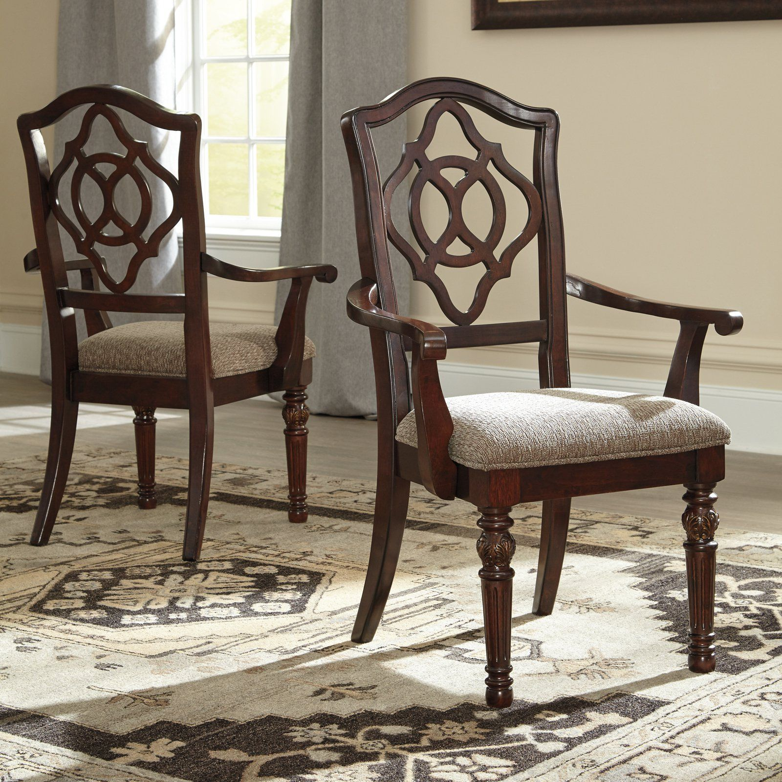 Signature Design By Ashley Leahlyn Arm Dining Chair Set Of 2 Ashy3112 Dining Room