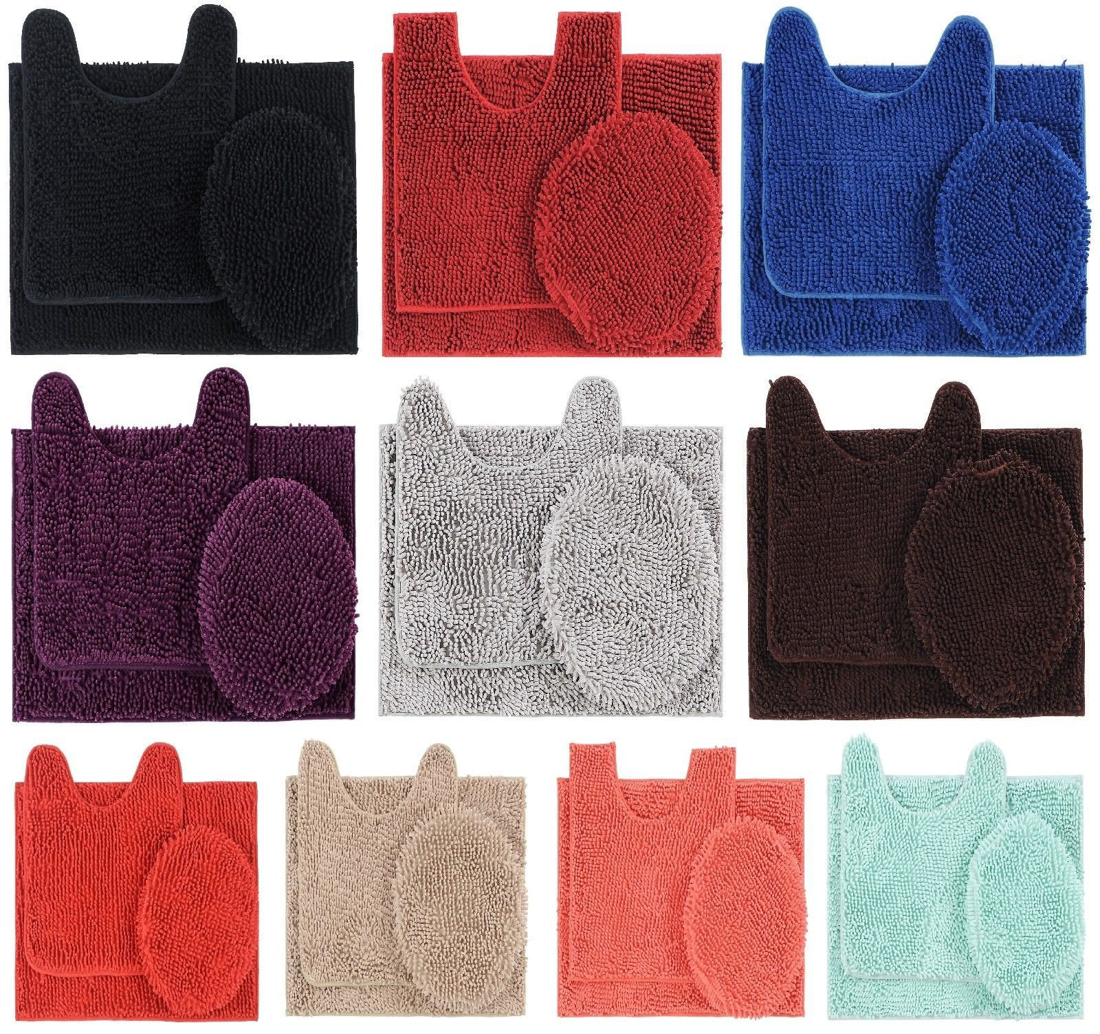 Details About 3 Piece Shaggy Chenille Bathroom Rug Set Bath Mat