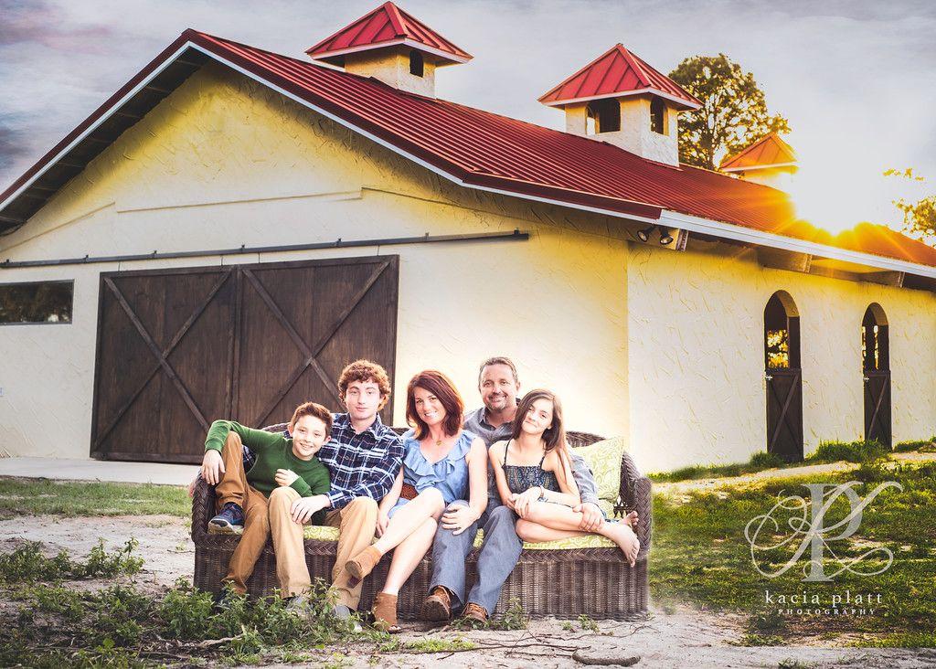 www.photographybykacia.com  Family of 5; Sunset; Barn; Family Photography  Sorrento, Florida