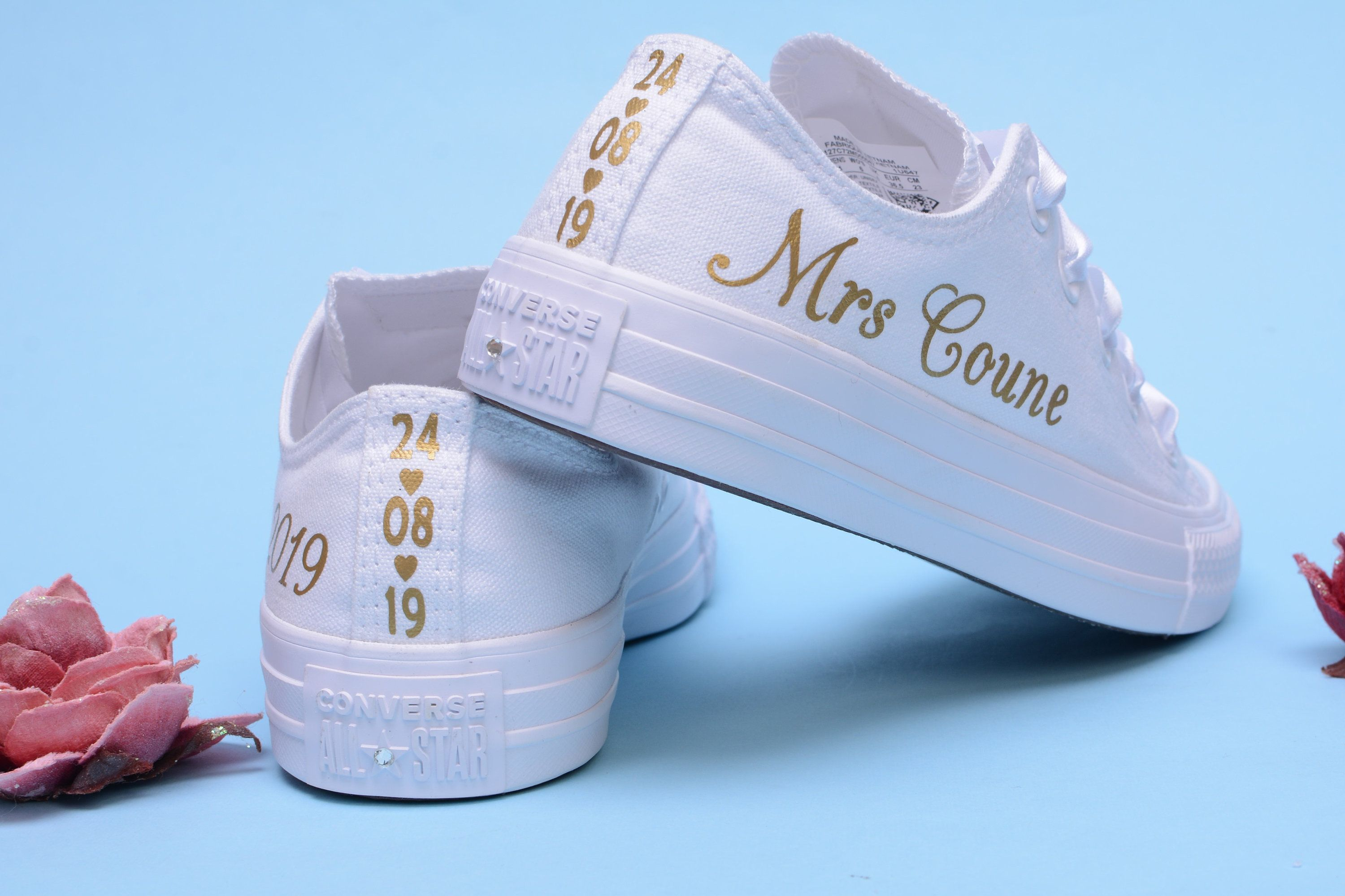 Details about Personalised Rose Gold Foil Wedding Converse Trainers For Bride, Sneakers Bridal