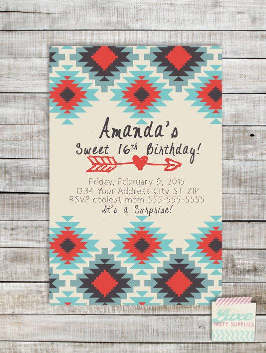 Aztec tribal print custom birthday invitation printable sweet 16 aztec tribal print custom birthday invitation printable sweet 16 teen tween adult jpg pdf digital filmwisefo Gallery