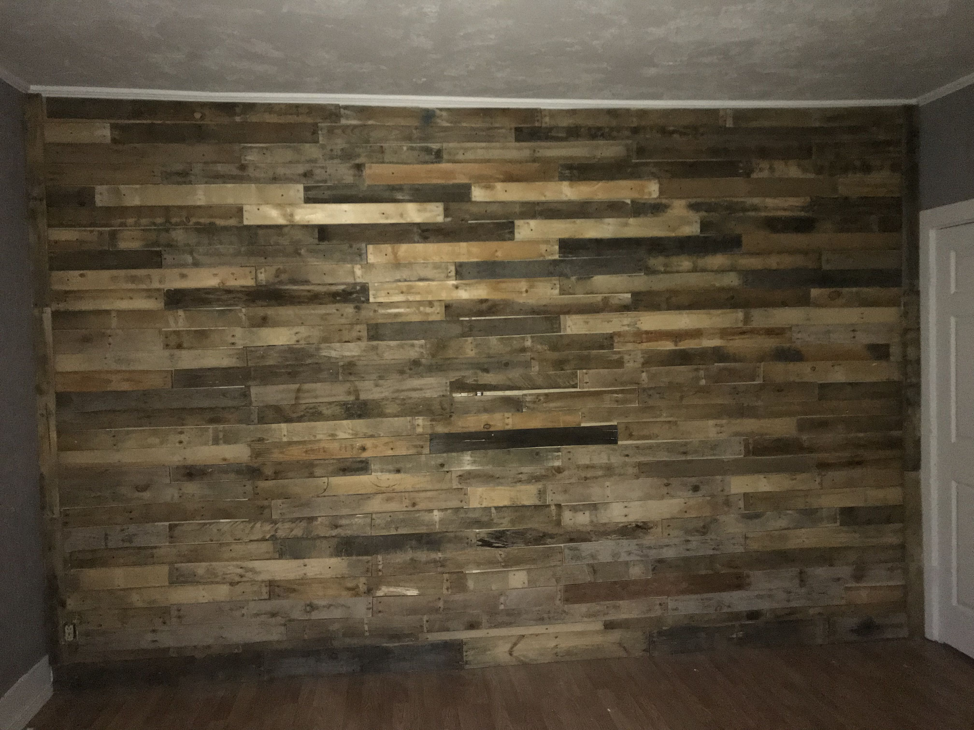 Pallet wall only 60$!!! | Garage makeover, Pallet wall ...