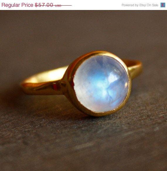 WINTER SALE Rainbow Moonstone Ring - Round - Vermeil Gold, Stacking Ring, June Birthstone Ring, June Birthdays. $48.45, via Etsy.