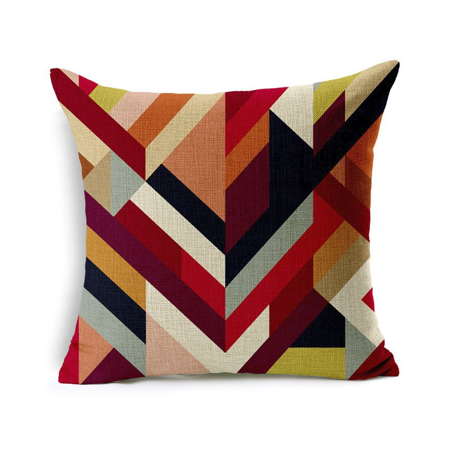 Simple Geometry Cotton Linen Pillow Case Sofa Throw Cushion Cover