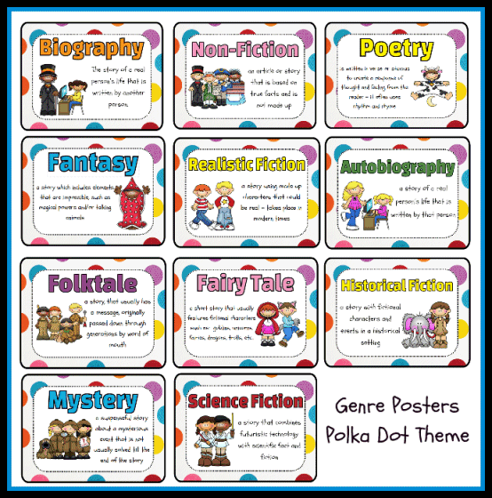 types of genres | Genres Poster Set - Polka Dot Theme Printable ...
