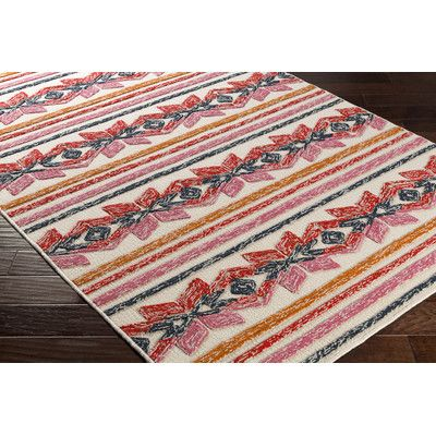 Artistic Weavers Mayan Star Hand-Tufted Poppy Red / Tangerine Area Rug Rug Size: 8' x 10'