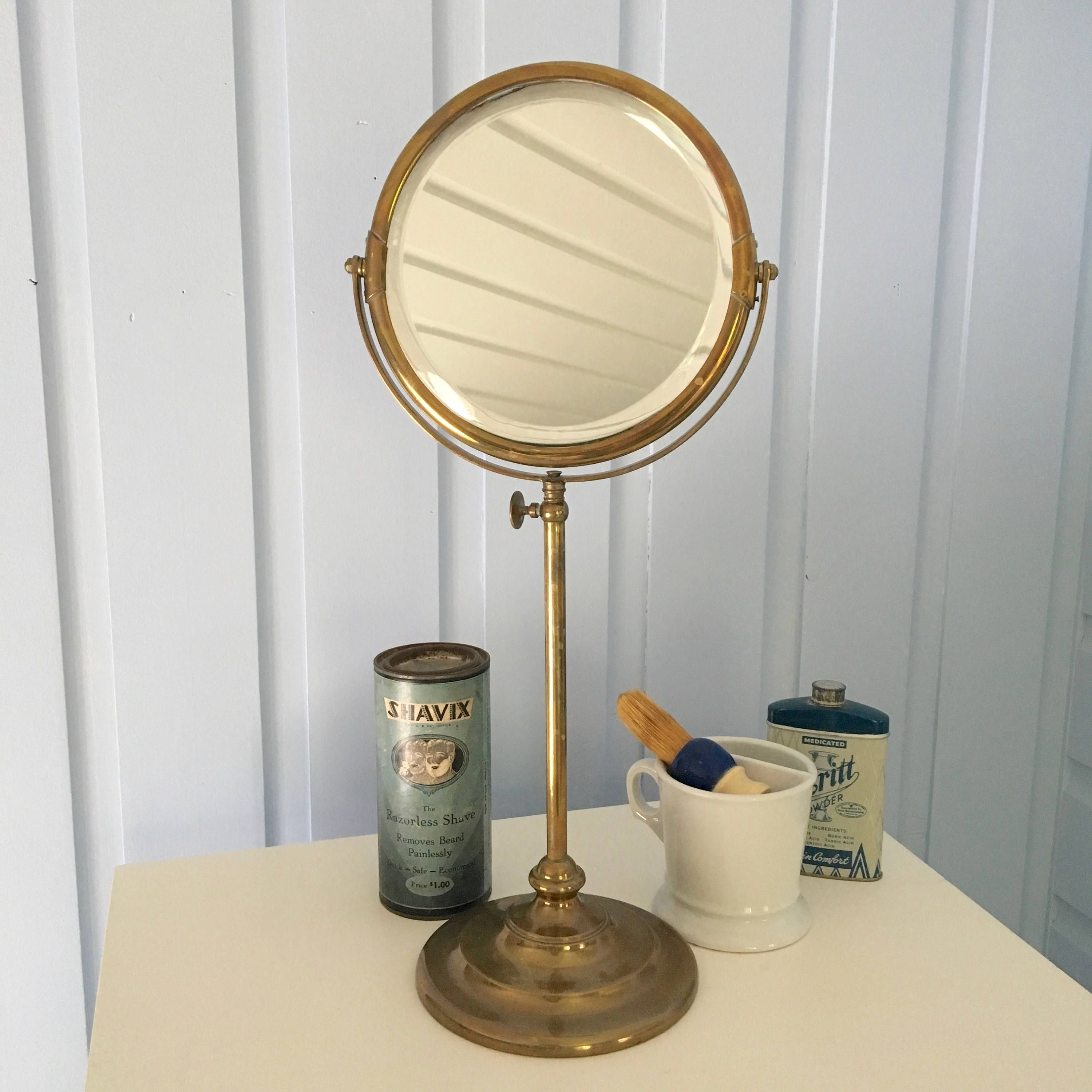 Antique Brass Round Shaving Mirror Adjustable Height Beveled Edge Glass Vintage Early 1900s From Milkweedv Shaving Mirror Beveled Edge Mirror Vintage Mirrors