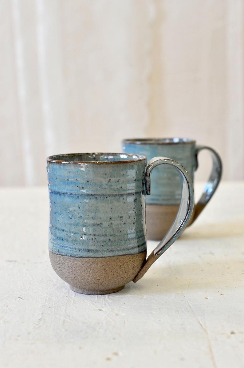 Keramische mokken set van 2, grote keramische mokken, blauwe MOKKEN, grote keramische kopjes, mokken van aardewerk ingesteld, handgemaakte mokken set, rustieke mokken, kerstcadeau