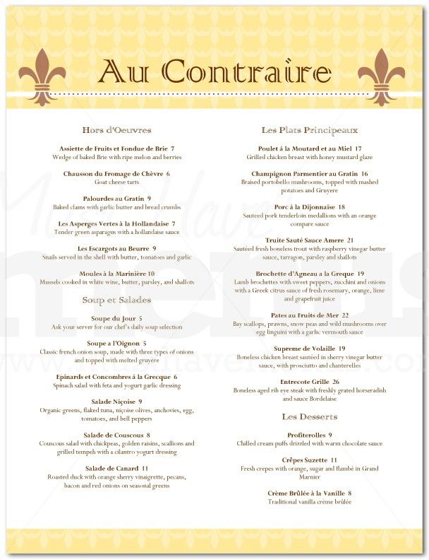 French Restaurant Menu in French French Bistro Menu \/ Page 1 of - french menu