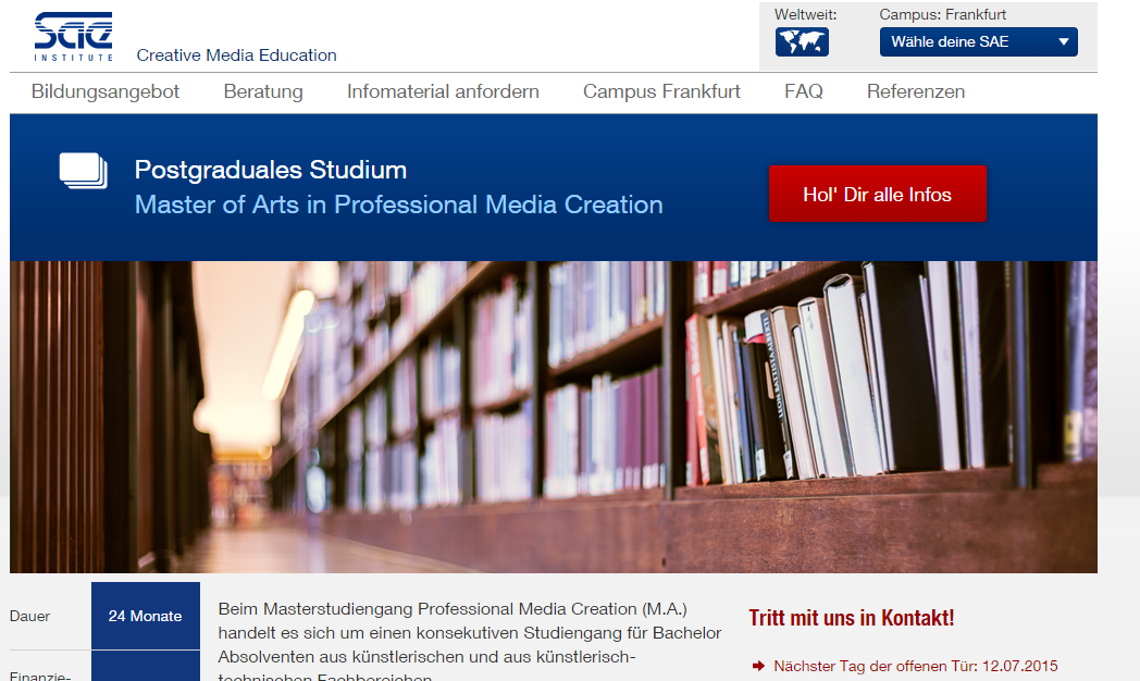 Master of Arts in Professional Media Creation and other arts courses