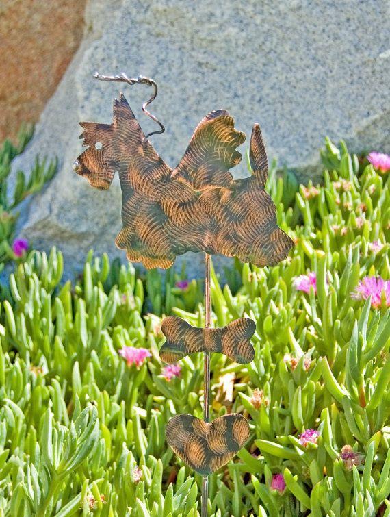 Scottish Terrier Garden Stake / Metal Garden Art / Pet Memorial / Copper Art / Metal Dog / Angel / Plant Stake / Dog Sculpture