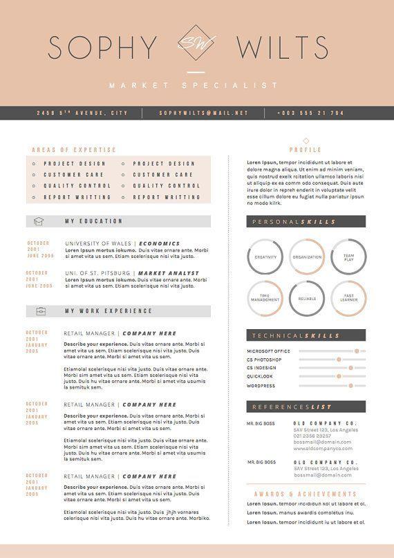 Professional Resume Template Cover Letter for MS Word Modern CV - resume cover leter
