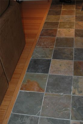 slate kitchen flooring, i like the different colors. | decor