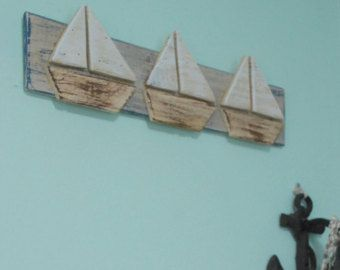 Wood sailboats wall art nautical beach decor sign boat picture also rh pinterest