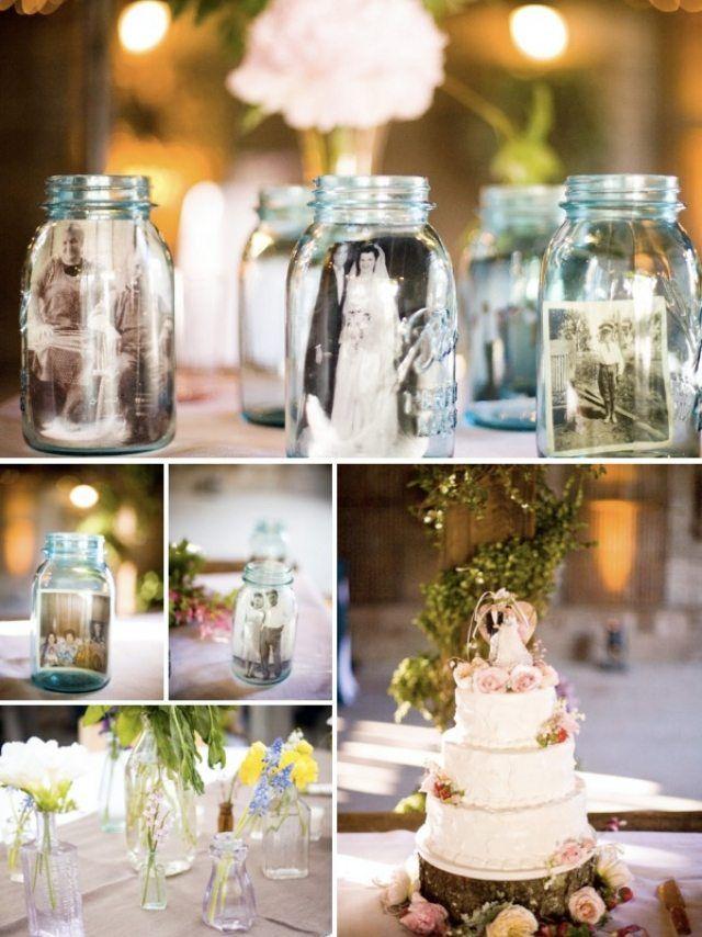 vintage-hochzeit deko marmeladengläser schwarz weiße fotos  wedding ...