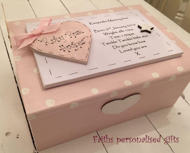 Large Personalised Baby Boy//Girl Memory Keepsake Box Gift Christening Blue Pink