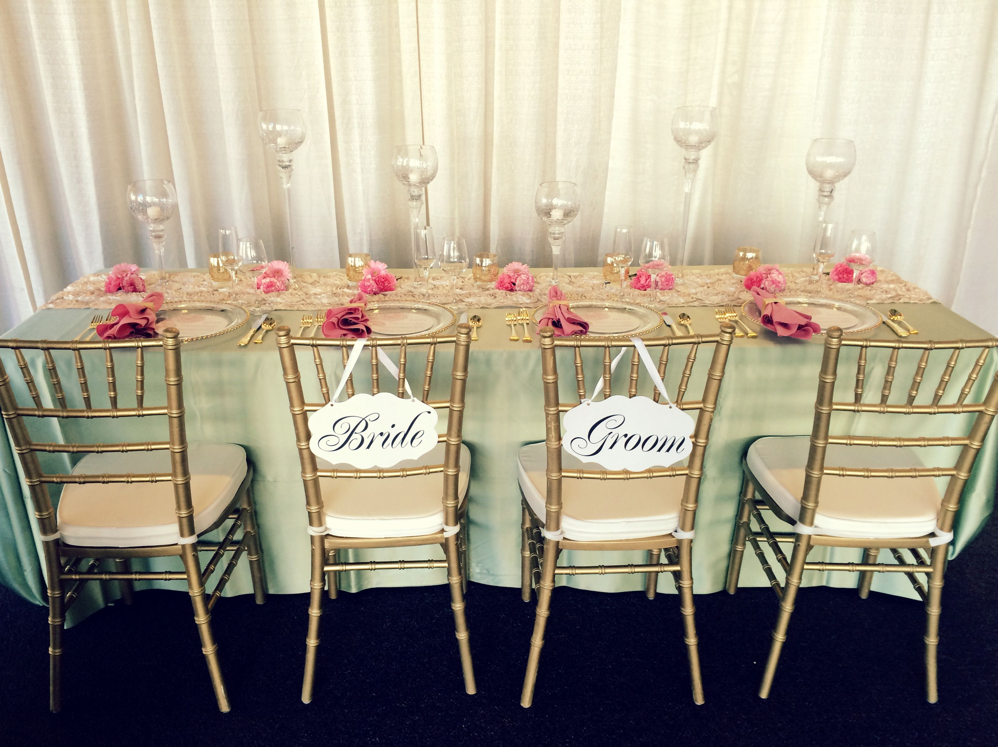 Head Table Design For A Showcase Event In March 2015 Sage Green Pale Pink Ivory Wedding Rental Company Event Rental Wedding Rentals