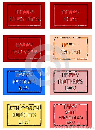 A set of labels with different wishes for holidays. An idea that can be used as greeting card or other projects.