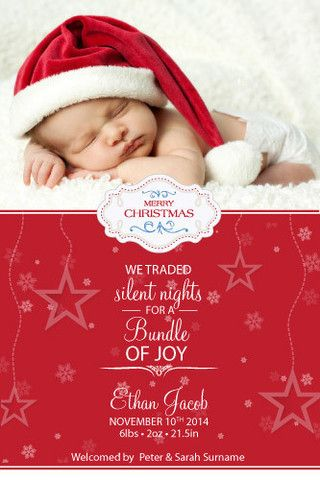 Christmas Greeting Card Silent Nights Baby Announcement Cards Baby Boy Christmas New Baby Products