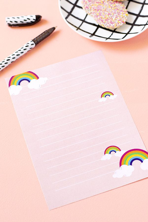 FREE Printable Rainbow Letter Paper