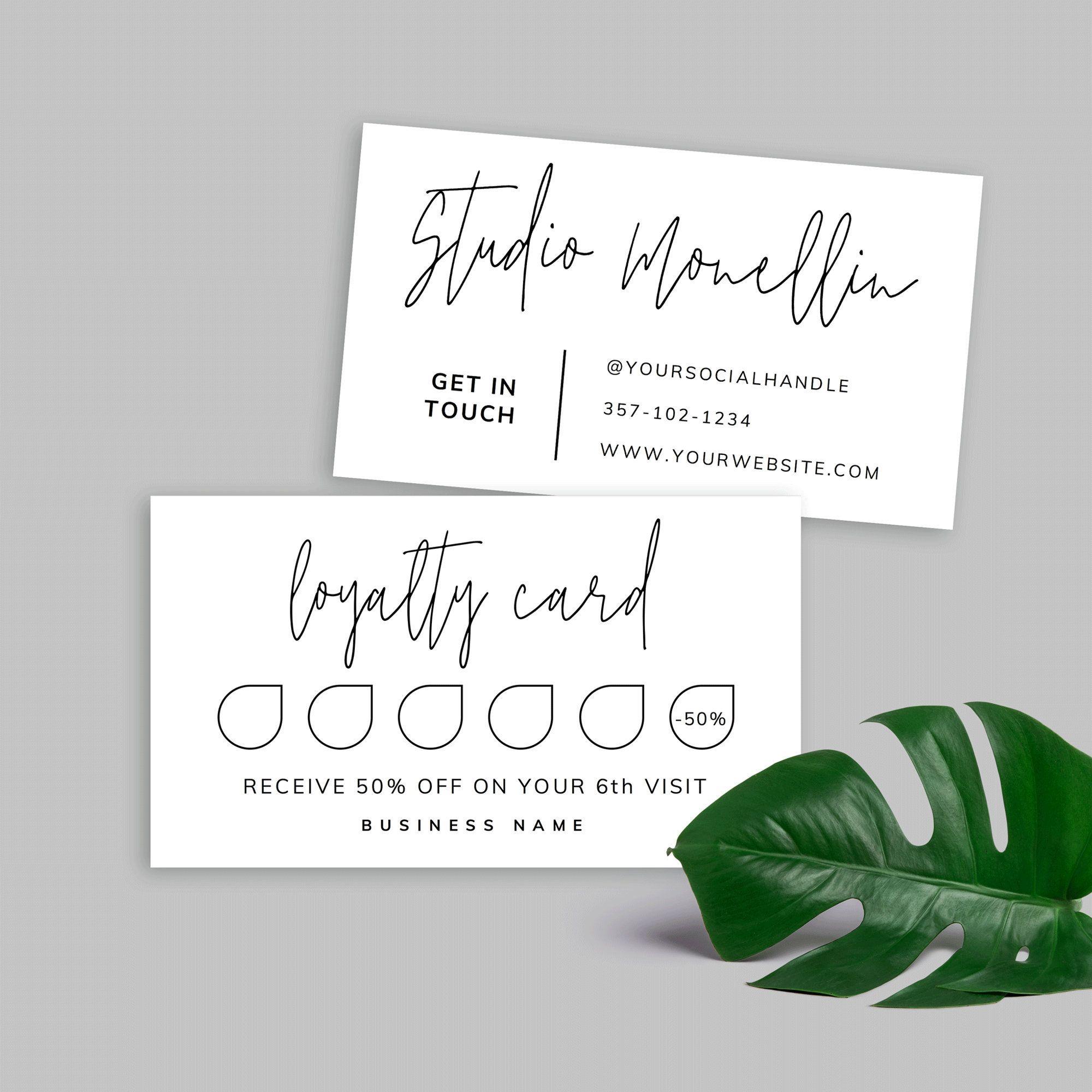 Printable Loyalty Card Simple Loyalty Card Template Etsy Loyalty Card Template Card Template Printable Gift Cards
