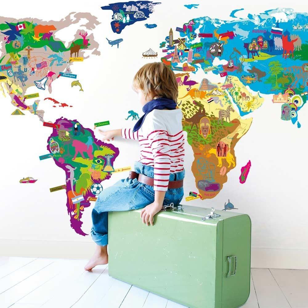 Vintage sticker map monde multicolore WeltkarteKinderzimmer
