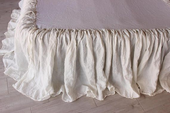 "Simply Shabby Chic Twin White Dust Ruffled Eyelet BedSkirt 14/"" Split Corners"