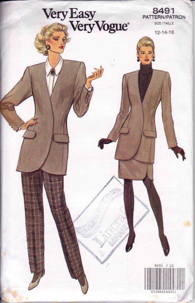 90s Jacket Pants Skirt Suit Pattern Vogue 8491 Size 14 16 18 UNCUT ...